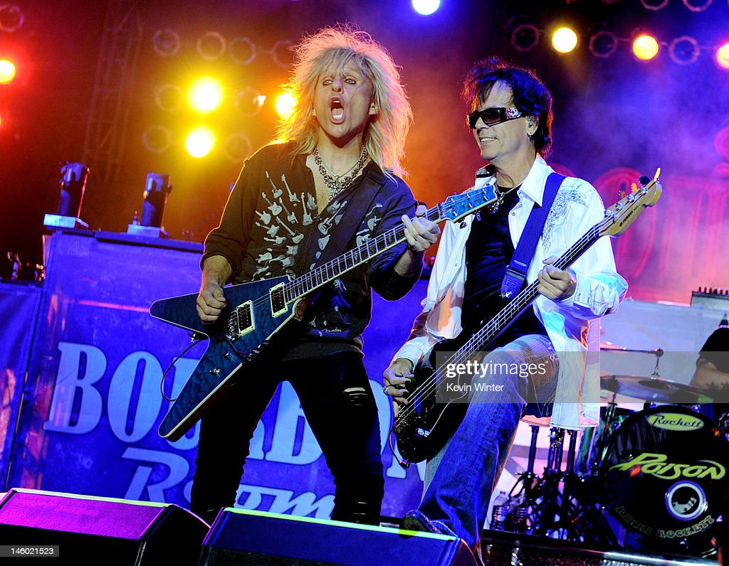 Musicians <a gi-track='captionPersonalityLinkClicked' href=/galleries/search?phrase=C.C.+DeVille&family=editorial&specificpeople=632358 ng-click='$event.stopPropagation()'>C.C. DeVille</a> (L) and <a gi-track='captionPersonalityLinkClicked' href=/galleries/search?phrase=Bobby+Dall&family=editorial&specificpeople=1370237 ng-click='$event.stopPropagation()'>Bobby Dall</a> of Poison perform at the after party for the premiere of Warner Bros. Pictures' 'Rock Of Ages' at Hollywood and Highland on June 8, 2012 in Los Angeles, California.