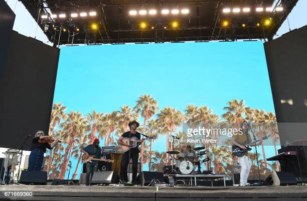 Musicians Charity Rose Thielen Chris Zasche Jonathan Russell Tyler Williams and Matt Gervais of The Head and the Heart perform on the Coachella Stage...