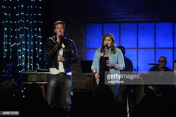 Musicians Charles Kelley and Hillary Scott of Lady Antebellum perform during Skyville Live on April 7 2015 in Nashville Tennessee