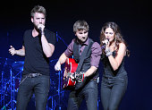 Musicians Charles Kelley Dave Haywood and Hillary Scott of Lady Antebellum perform at The Wiltern on April 15 2010 in Los Angeles California