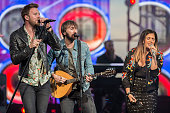 Musicians Charles Kelley Dave Haywood and Hillary Scott of Lady Antebellum perform on stage at San Diego County Fair on June 5 2016 in San Diego...