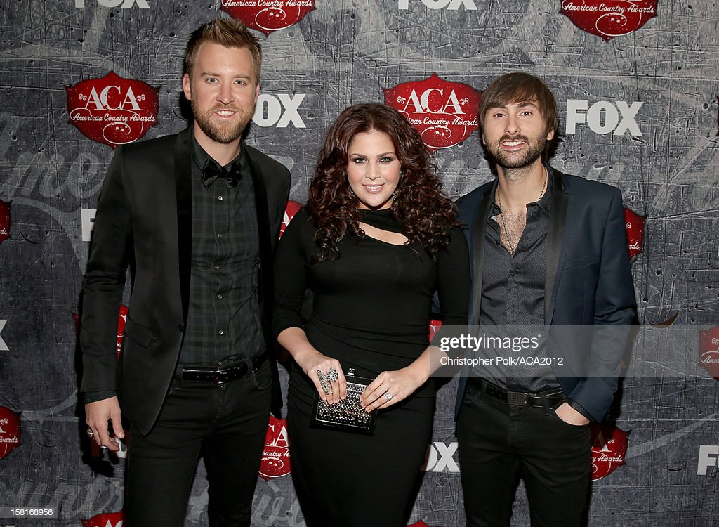 Musicians Charles Kelley, Hillary Scott and Dave Haywood of Lady Antebellum arrive at the 2012 American Country Awards at the Mandalay Bay Events Center on December 10, 2012 in Las Vegas, Nevada.