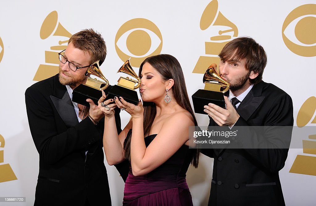 Musicians <a gi-track='captionPersonalityLinkClicked' href=/galleries/search?phrase=Charles+Kelley&family=editorial&specificpeople=3935435 ng-click='$event.stopPropagation()'>Charles Kelley</a>, Hillary Scott and <a gi-track='captionPersonalityLinkClicked' href=/galleries/search?phrase=Dave+Haywood&family=editorial&specificpeople=4620526 ng-click='$event.stopPropagation()'>Dave Haywood</a> of Lady Antebellum, winner of the GRAMMY for Best Country Album for 'Own the Night', pose in the press room at the 54th Annual GRAMMY Awards at Staples Center on February 12, 2012 in Los Angeles, California.