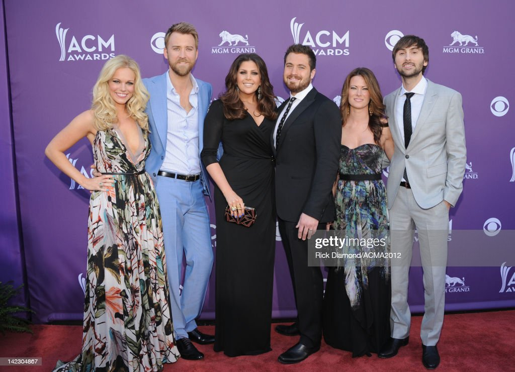 Musicians <a gi-track='captionPersonalityLinkClicked' href=/galleries/search?phrase=Charles+Kelley&family=editorial&specificpeople=3935435 ng-click='$event.stopPropagation()'>Charles Kelley</a>, Hillary Scott and <a gi-track='captionPersonalityLinkClicked' href=/galleries/search?phrase=Dave+Haywood&family=editorial&specificpeople=4620526 ng-click='$event.stopPropagation()'>Dave Haywood</a> of the band Lady Antebellum arrive at the 47th Annual Academy Of Country Music Awards held at the MGM Grand Garden Arena on April 1, 2012 in Las Vegas, Nevada.