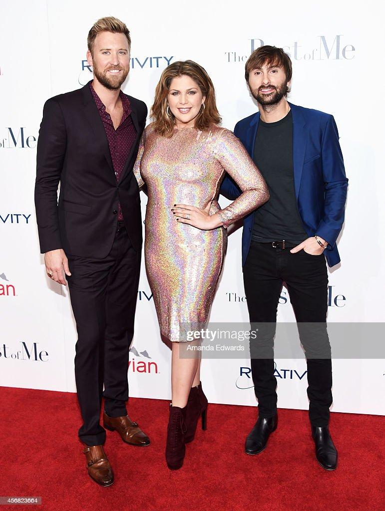 Musicians Charles Kelley, Hillary Scott and Dave Haywood of the band Lady Antebellum arrive at the Los Angeles premiere of 'The Best Of Me' at the Regal Cinemas L.A. Live on October 7, 2014 in Los Angeles, California.