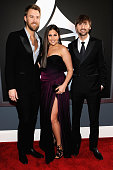 Musicians Charles Kelley Hillary Scott and Dave Haywood of the group Lady Antebellum arrives at the 54th Annual GRAMMY Awards held at Staples Center...
