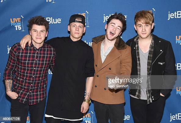 Musicians Charley Bagnall Lewi Morgan Jake Roche and Danny Wilkin of the band Rixton pose for pictures after performing at JetBlue's Live From T5...
