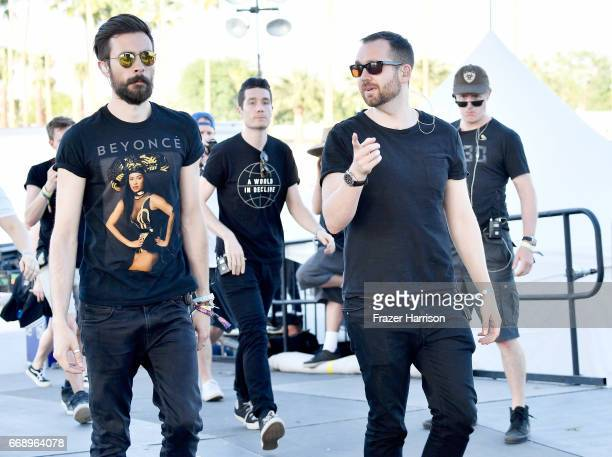 Musicians Charlie Barnes Dan Smith and Will Farquarson of Bastille backstage at the Outdoor Stage during day 2 of the Coachella Valley Music And Arts...