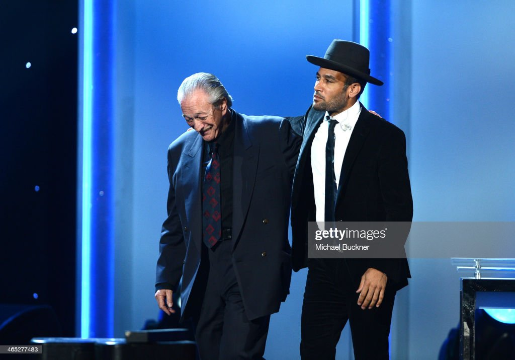 Musicians <a gi-track='captionPersonalityLinkClicked' href=/galleries/search?phrase=Charlie+Musselwhite&family=editorial&specificpeople=4304064 ng-click='$event.stopPropagation()'>Charlie Musselwhite</a> (L) and <a gi-track='captionPersonalityLinkClicked' href=/galleries/search?phrase=Ben+Harper&family=editorial&specificpeople=206209 ng-click='$event.stopPropagation()'>Ben Harper</a> accept the Best Blues Album award for 'Get Up!' onstage onstage during the 56th GRAMMY Awards Pre-Telecast at Nokia Theatre L.A. Live on January 26, 2014 in Los Angeles, California.
