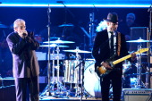 Musicians Charlie Musselwhite and Ben Harper perform onstage during the 56th GRAMMY Awards PreTelecast Show at Nokia Theatre LA Live on January 26...