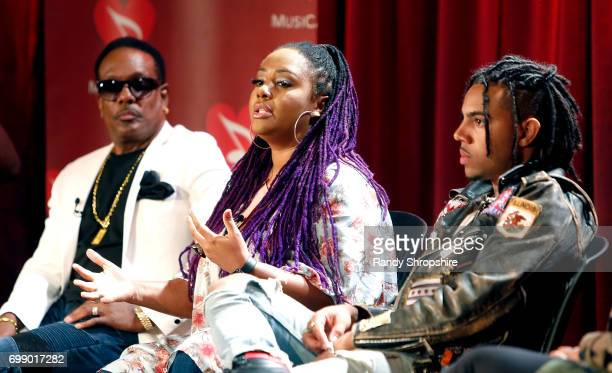 Musicians Charlie Wilson Lalah Hathaway and Vic Mensa attend the Health in Hip Hop panel at the GRAMMY Museum on June 20 2017 in Los Angeles...