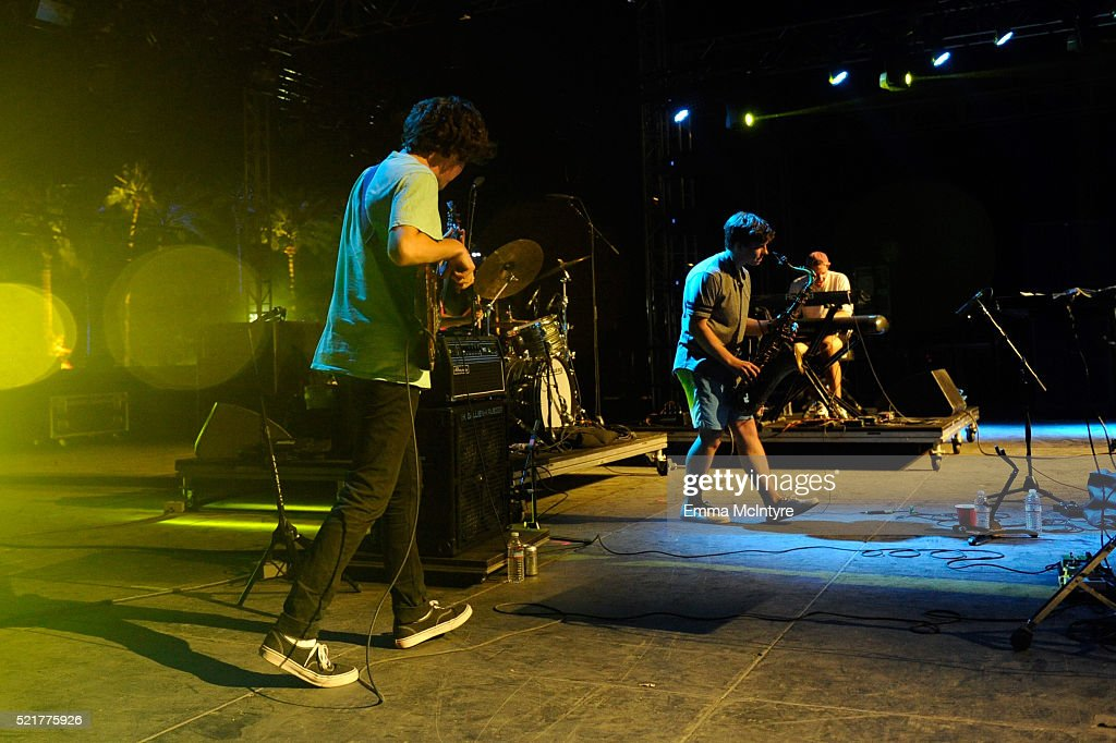 Musicians Chester Hansen (L) and Leland Whitty of BadBadNotGood perform onstage during day 2 of the 2016 Coachella Valley Music & Arts Festival Weekend 1 at the Empire Polo Club on April 16, 2016 in Indio, California.