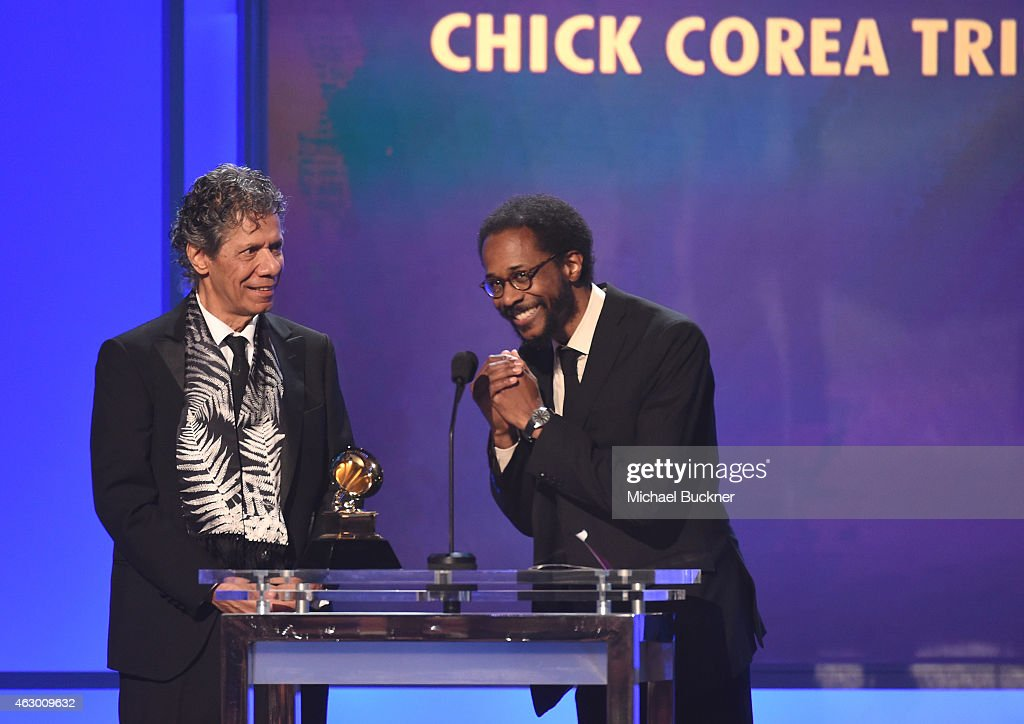 Musicians <a gi-track='captionPersonalityLinkClicked' href=/galleries/search?phrase=Chick+Corea&family=editorial&specificpeople=1657212 ng-click='$event.stopPropagation()'>Chick Corea</a> (L) and Brian Blade accept the award for Best Improvised Jazz Solo onstage at the Premiere Ceremony during The 57th Annual GRAMMY Awards at the Nokia Theatre L.A. LIVE on February 8, 2015 in Los Angeles, California.