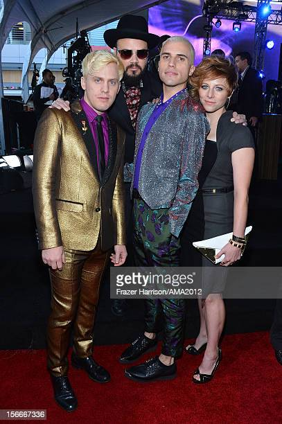 Musicians Chris Allen Branden Campbell Tyler Glenn and Elaine Bradley of Neon Trees attend the 40th American Music Awards held at Nokia Theatre LA...