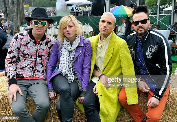 Musicians Chris Allen Elaine Bradley Tyler Glenn and Branden Campbell pose backstage during Chipotle's Cultivate San Francisco Food Music and Ideas...