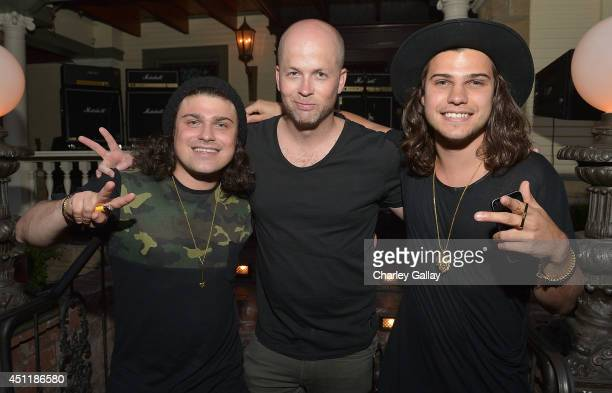 Musicians Chris Andre and Alex Andre of DVBBS and Marketing Brand Director Marshall Headphones Thomas Falkenstrom attend Marshall Headphones Presents...