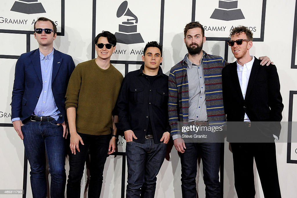 Musicians Chris Baio, Ezra Koenig, Rostam Batmanglij, Chris Tomson of Vampire Weekend and producer Ariel Rechtshaid attend the 56th GRAMMY Awards at Staples Center on January 26, 2014 in Los Angeles, California.
