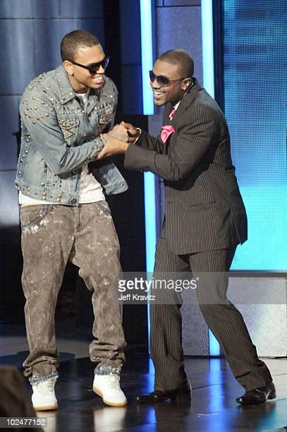 Musicians Chris Brown and Ray J onstage during the 2010 BET Awards held at the Shrine Auditorium on June 27 2010 in Los Angeles California