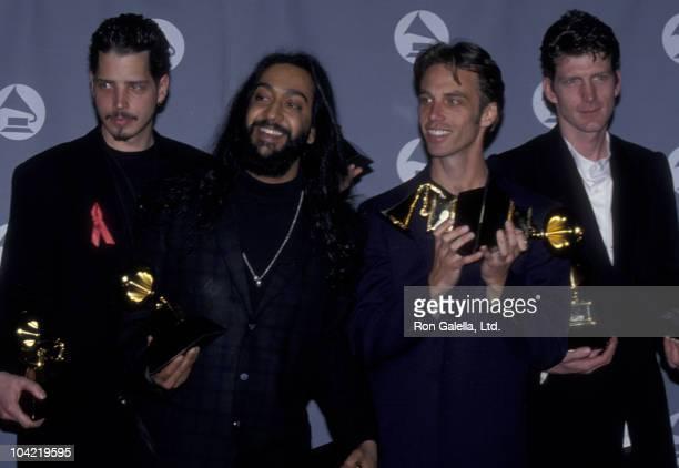 Musicians Chris Cornell Kim Thayil Matt Cameron and Ben Shepherd of Soundgarden attend 37th Annual Grammy Awards on March 1 1995 at the Shrine...