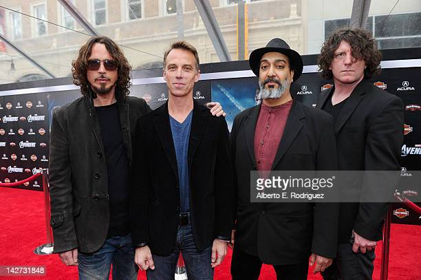 Musicians Chris Cornell Matt Cameron Kim Thayil and Ben Shepherd of Soundgarden attend the premiere of Marvel Studios' 'Marvel's The Avengers' held...
