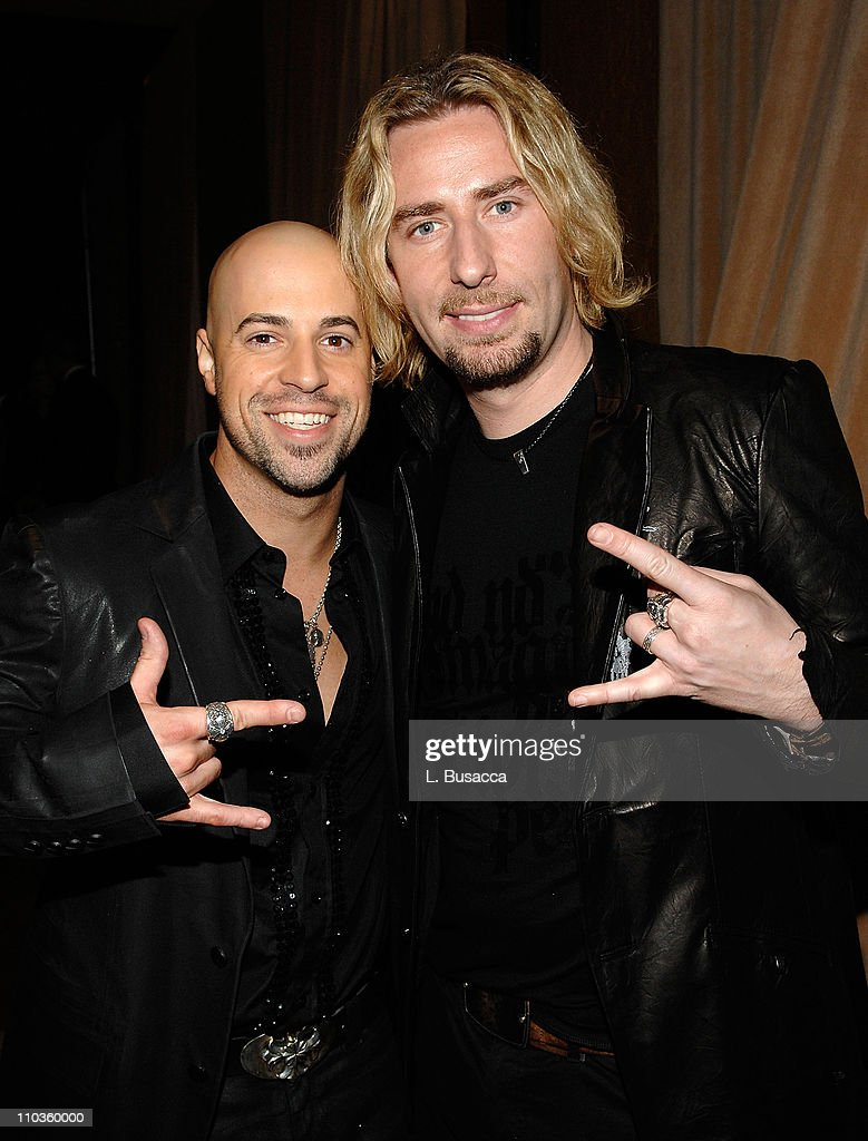 Musicians Chris Daughtry and Chad Kroeger attend the 2008 Clive Davis Pre-GRAMMY party at the Beverly Hilton Hotel on February 9, 2008 in Los Angeles, California.