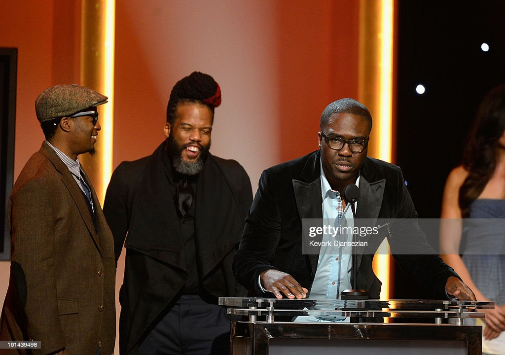 Musicians Chris Dave, Casey Bengamin and Derrick Hodge, winners of Best R&B Album for 'Black Radio' onstage at the The 55th Annual GRAMMY Awards at Nokia Theatre on February 10, 2013 in Los Angeles, California.