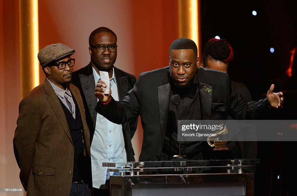 Musicians Chris Dave, Derrick Hodge and Robert Glasper, winners of Best R&B Album for 'Black Radio' onstage at the The 55th Annual GRAMMY Awards at Nokia Theatre on February 10, 2013 in Los Angeles, California.