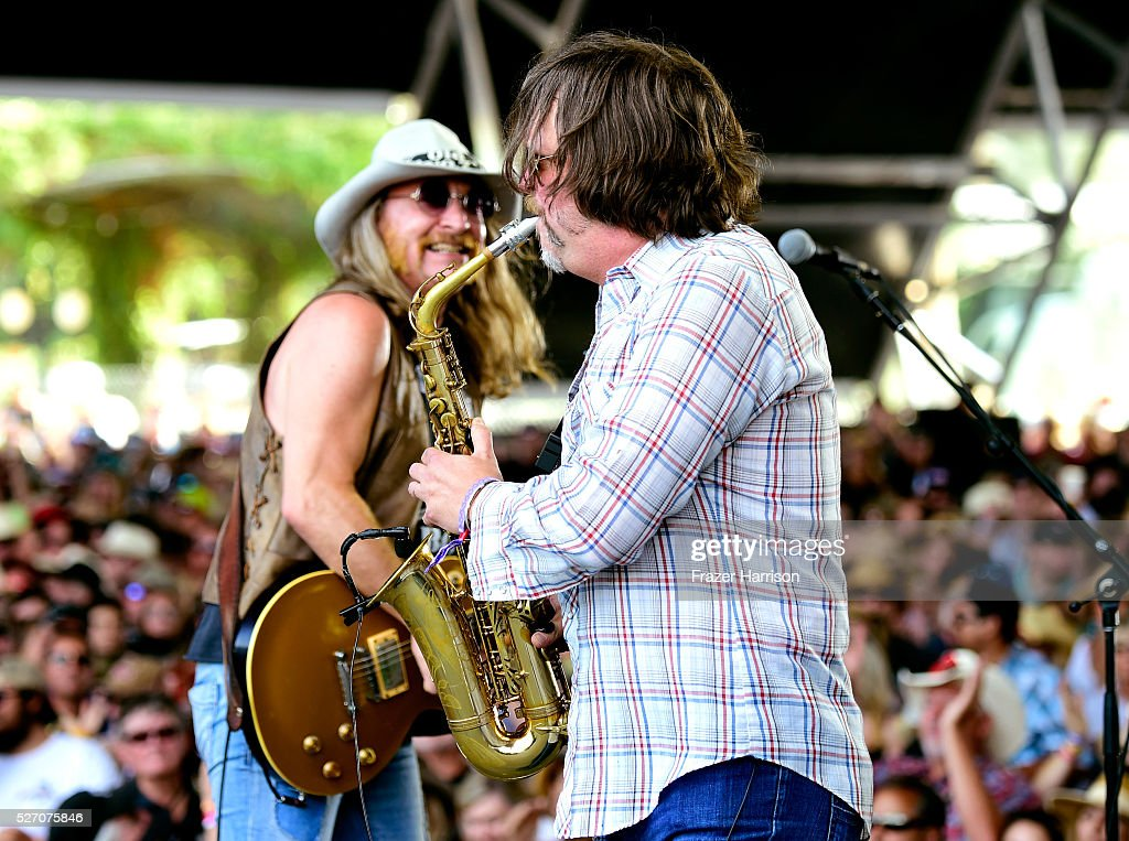 Musicians Chris Hicks (L) and Marcus James Henderson of The Marshall Tucker Band perform onstage during 2016 Stagecoach California's Country Music Festival at Empire Polo Club on May 01, 2016 in Indio, California.