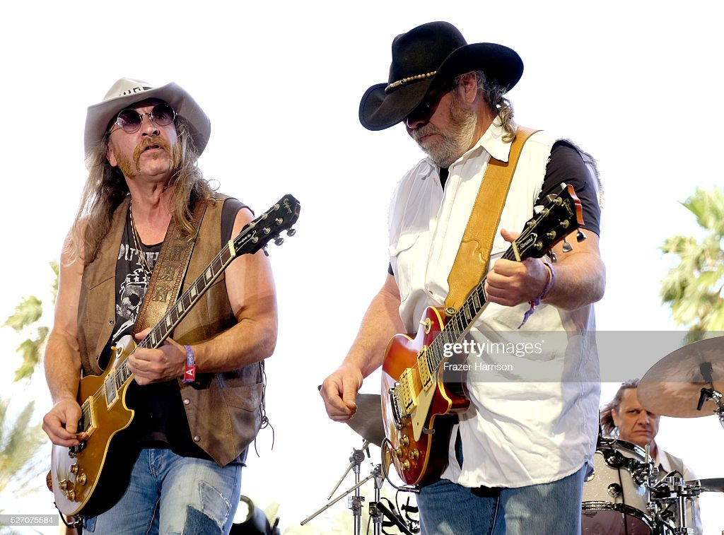 Musicians Chris Hicks (L) and Rick Willis of The Marshall Tucker Band perform onstage during 2016 Stagecoach California's Country Music Festival at Empire Polo Club on May 01, 2016 in Indio, California.