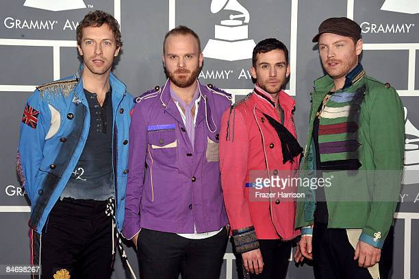 Musicians Chris Martin Will Champion Guy Berryman and Jonny Buckland of Coldplay arrive at the 51st Annual Grammy Awards held at the Staples Center...
