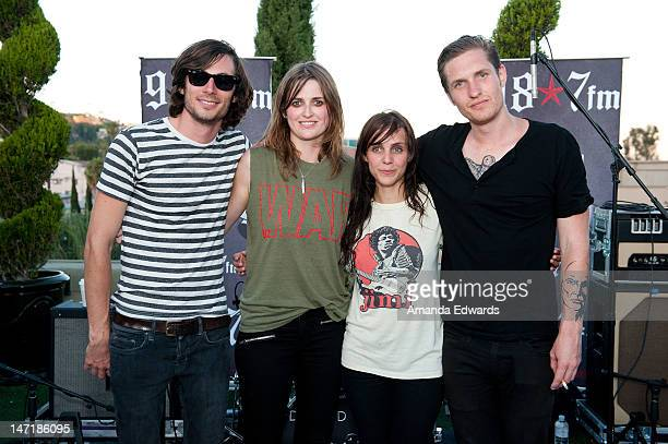 Musicians Chris Null Emily Armstrong Siouxsie Medley and Sean Friday of Dead Sara pose after performing onstage at the 987FM Penthouse Party Presents...