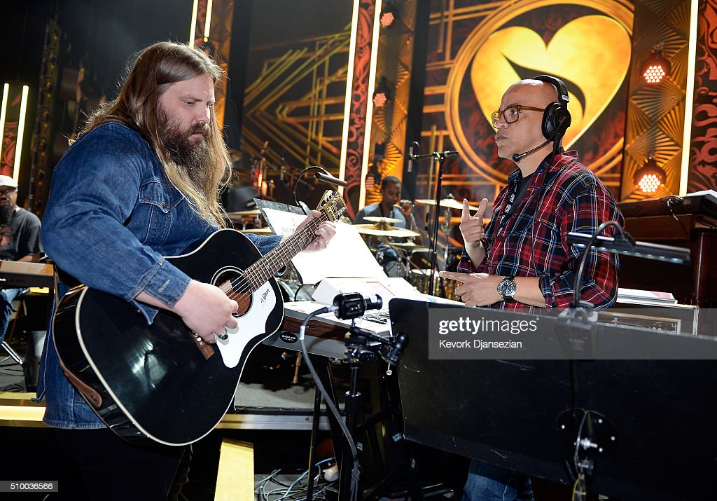 Musicians <a gi-track='captionPersonalityLinkClicked' href=/galleries/search?phrase=Chris+Stapleton&family=editorial&specificpeople=3359090 ng-click='$event.stopPropagation()'>Chris Stapleton</a> (L) and Rickey Minor rehearse onstage during the 2016 MusiCares Person Of The Year honoring Lionel Richie at Los Angeles Convention Center on February 13, 2016 in Los Angeles City.