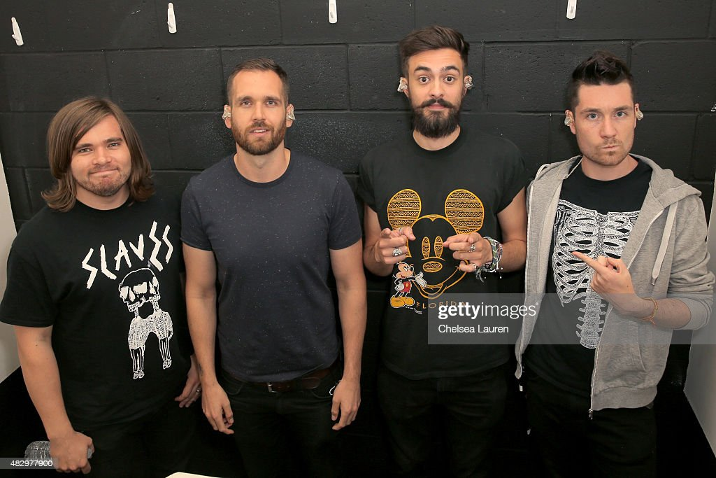 Musicians Chris 'Woody' Wood, Will Farquarson, Kyle J Simmons, and Dan Smith of Bastille attend the Mercedes-Benz 2015 Evolution Tour on August 4, 2015 in Los Angeles, California.