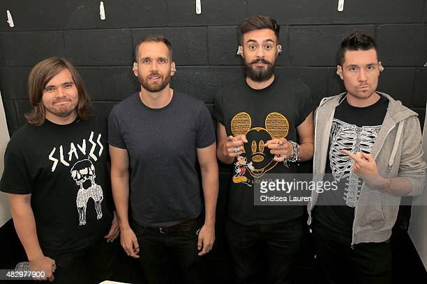 Musicians Chris 'Woody' Wood Will Farquarson Kyle J Simmons and Dan Smith of Bastille attend the MercedesBenz 2015 Evolution Tour on August 4 2015 in...
