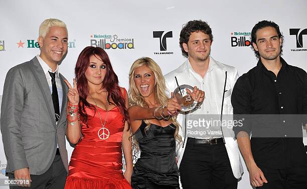 Musicians Christian Chavez Dulce Maria Anahi Christopher Uckermann and Alfonso Poncho Herrera Rodriguez of RBD pose in the press room during the 2008...