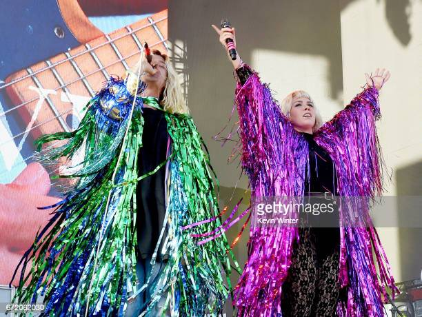 Musicians Christian Zucconi and Hannah Hooper of Grouplove perform on the Coachella Stage during day 3 of the Coachella Valley Music And Arts...