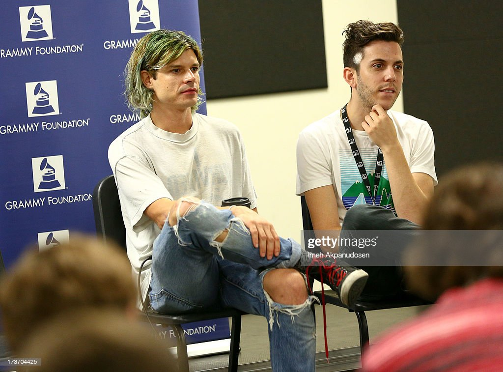 Musicians Christian Zucconi (L) and Ryan Rabin of GROUPLOVE speak onstage at the 9th Annual GRAMMY Camp at University of Southern California on July 16, 2013 in Los Angeles, California.