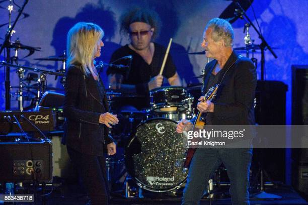 Musicians Christine McVie and Lindsey Buckingham perform on stage at Humphrey's on October 19 2017 in San Diego California