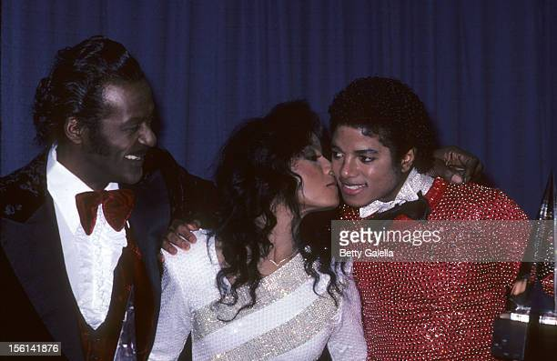 Musicians Chuck Berry Lolita Jackson and Michael Jackson attends 38th Annual Golden Globe Awards on January 31 1981 at the Beverly Hilton Hotel in...