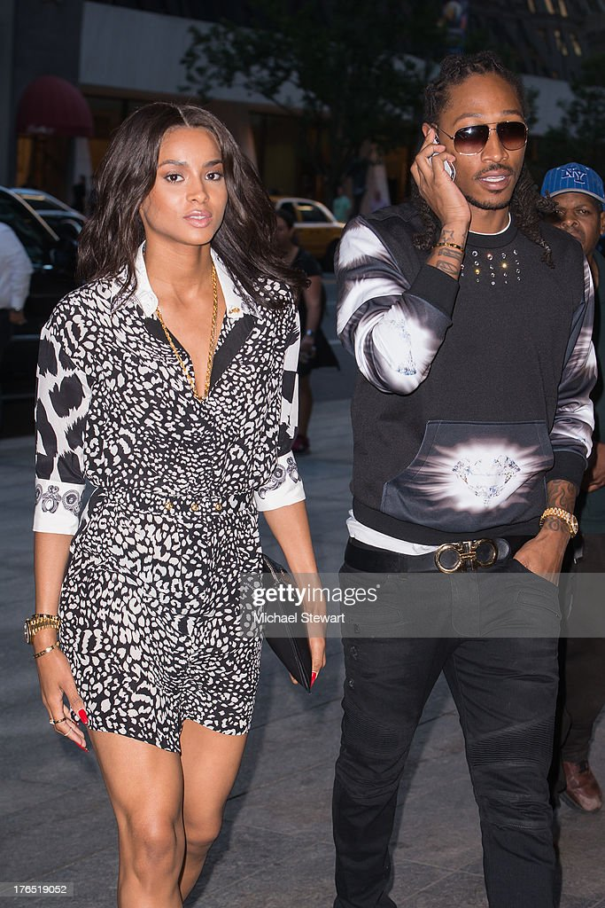 Musicians Ciara (L) and Future seen on the streets of Manhattan on August 14, 2013 in New York City.