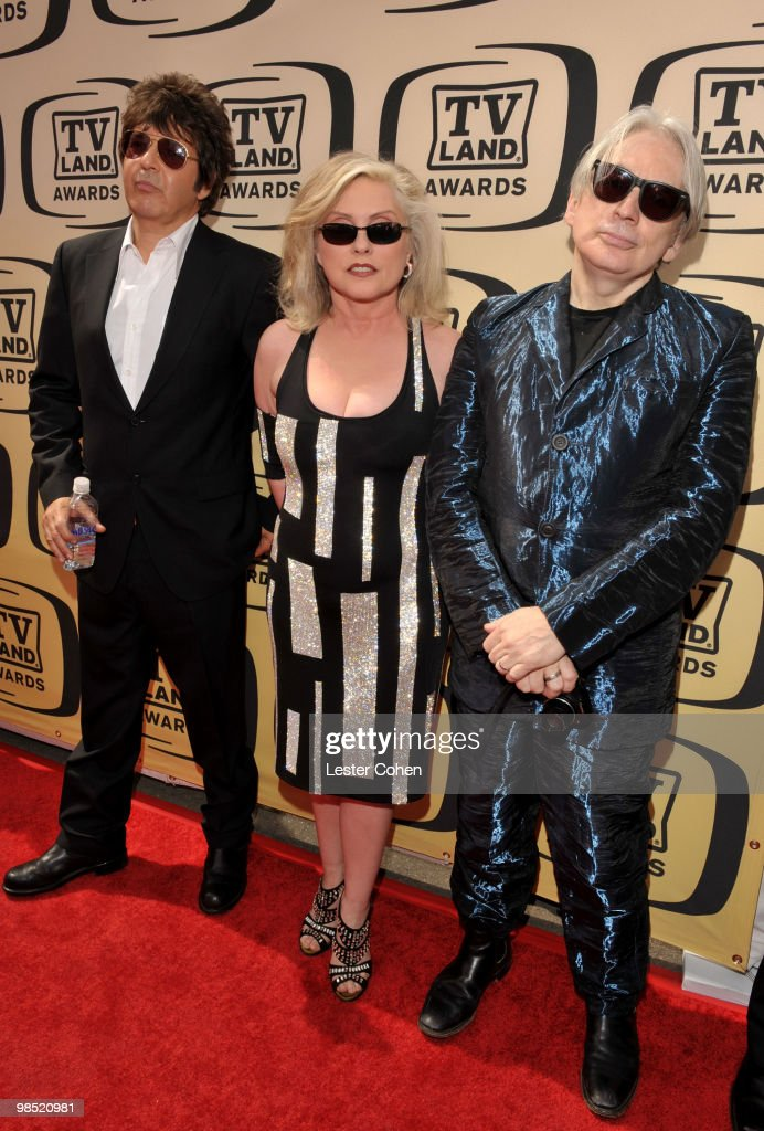 Musicians <a gi-track='captionPersonalityLinkClicked' href=/galleries/search?phrase=Clem+Burke&family=editorial&specificpeople=618427 ng-click='$event.stopPropagation()'>Clem Burke</a>, <a gi-track='captionPersonalityLinkClicked' href=/galleries/search?phrase=Debbie+Harry&family=editorial&specificpeople=209145 ng-click='$event.stopPropagation()'>Debbie Harry</a>, and <a gi-track='captionPersonalityLinkClicked' href=/galleries/search?phrase=Chris+Stein&family=editorial&specificpeople=239488 ng-click='$event.stopPropagation()'>Chris Stein</a> of Blondie arrive at the 8th Annual TV Land Awards at Sony Studios on April 17, 2010 in Los Angeles, California.