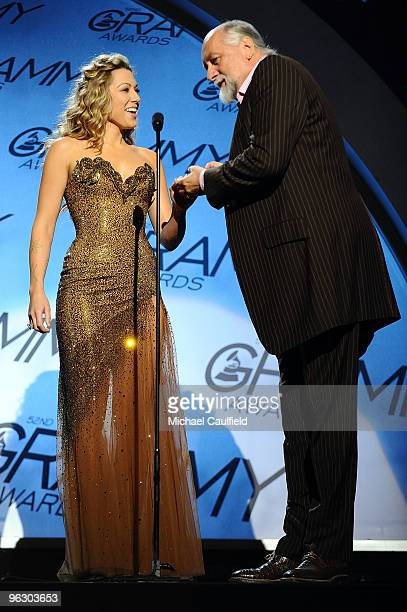 Musicians Colbie Caillet and Mick Fleetwood speak at the 52nd Annual GRAMMY Awards pretelecast held at Staples Center on January 31 2010 in Los...
