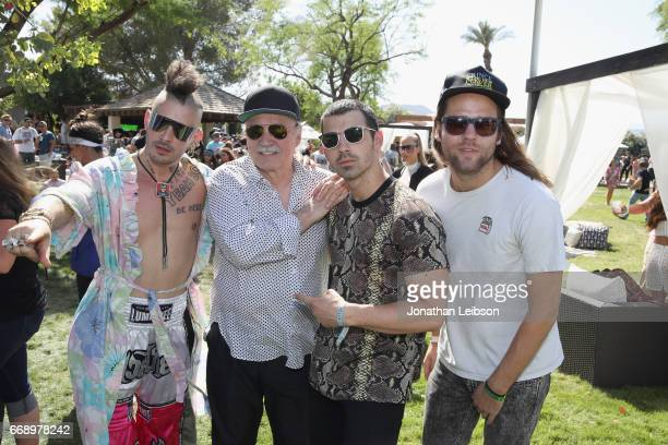 Musicians Cole Whittle Giorgio Moroder Joe Jonas and Jack Lawless attend The Hyde Away hosted by Republic Records SBE presented by Hudson and...