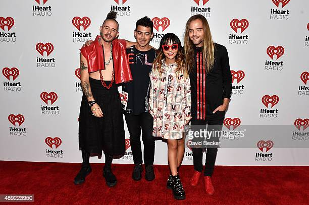 Musicians Cole Whittle Joe Jonas JinJoo Lee and Jack Lawless of DNC attend the 2015 iHeartRadio Music Festival at MGM Grand Garden Arena on September...