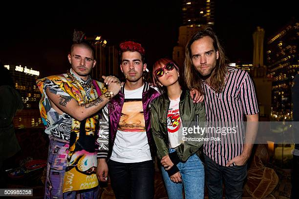 Musicians Cole Whittle Joe Jonas JinJoo Lee and Jack Lawless of DNCE backstage at MasterCard and Westwood One Present DNCE and Audien at Perch Los...