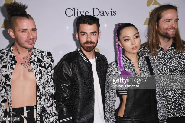 Musicians Cole Whittle Joe Jonas JinJoo Lee and Jack Lawless of DNCE attend PreGRAMMY Gala and Salute to Industry Icons Honoring Debra Lee at The...