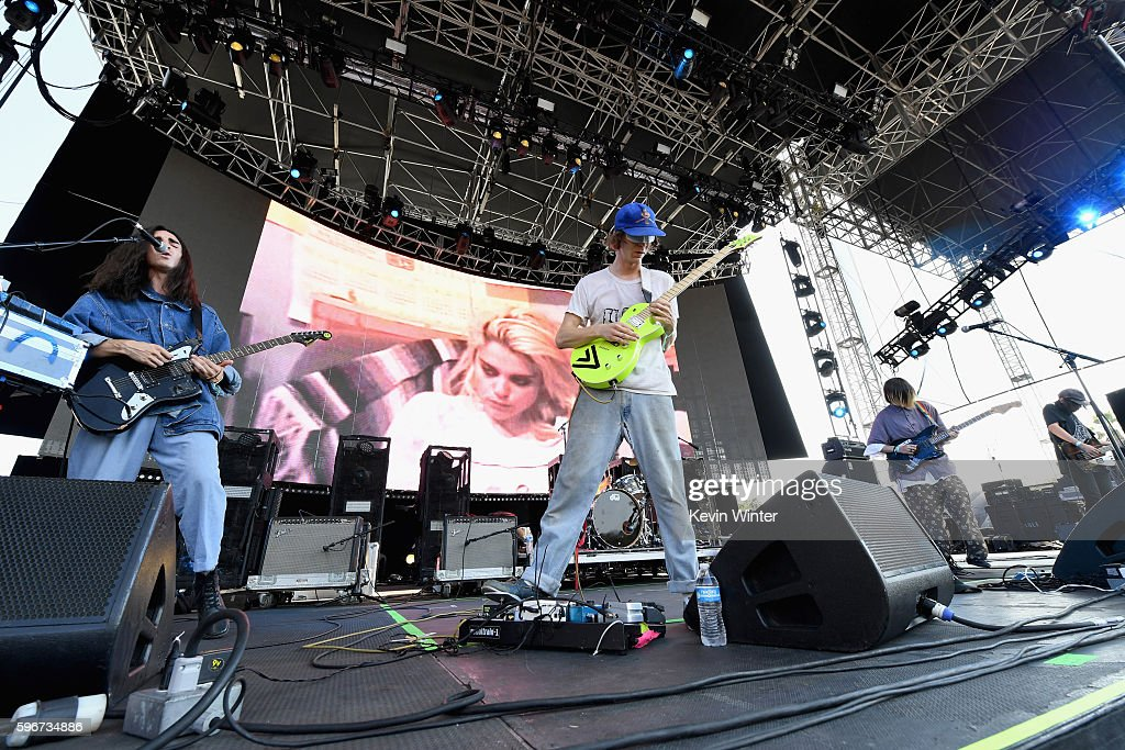 Musicians Colin Caulfield and Zachary Cole Smith of DIIV perform onstage during FYF Fest 2016 at Los Angeles Sports Arena on August 27 2016 in Los...