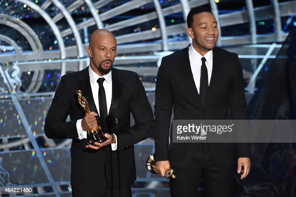 Musicians Common and John Legend accept the Best Original Song Award for 'Glory' from 'Selma' onstage during the 87th Annual Academy Awards at Dolby...