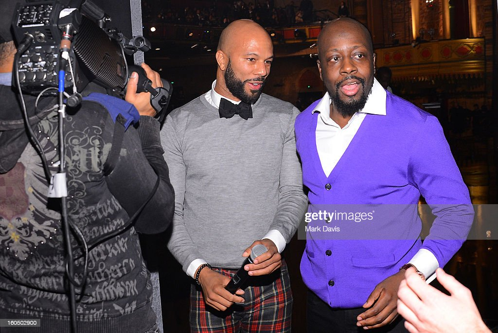 Musicians Common and Wyclef Jean attend the 44th NAACP Image Awards at The Shrine Auditorium on February 1, 2013 in Los Angeles, California.