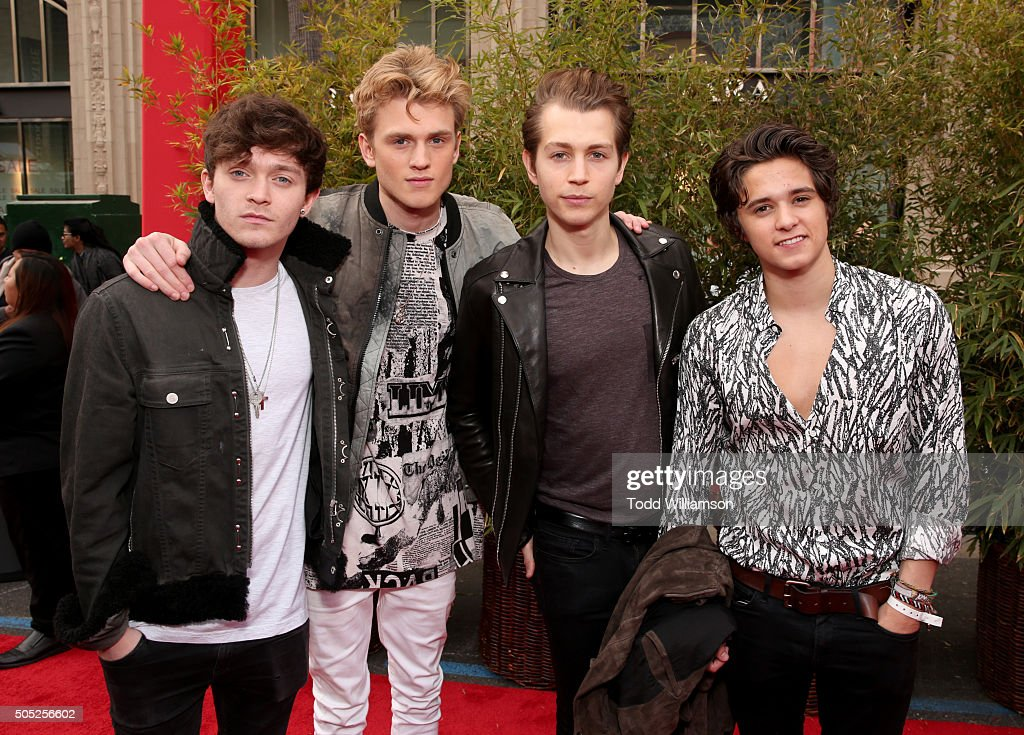 Musicians Connor Ball, Tristan Evans, James McVey and Brad Simpson of The Vamps attends the premiere of DreamWorks Animation and Twentieth Century Fox's 'Kung Fu Panda 3' at the TCL Chinese Theatre on January 16, 2016 in Hollywood, California.